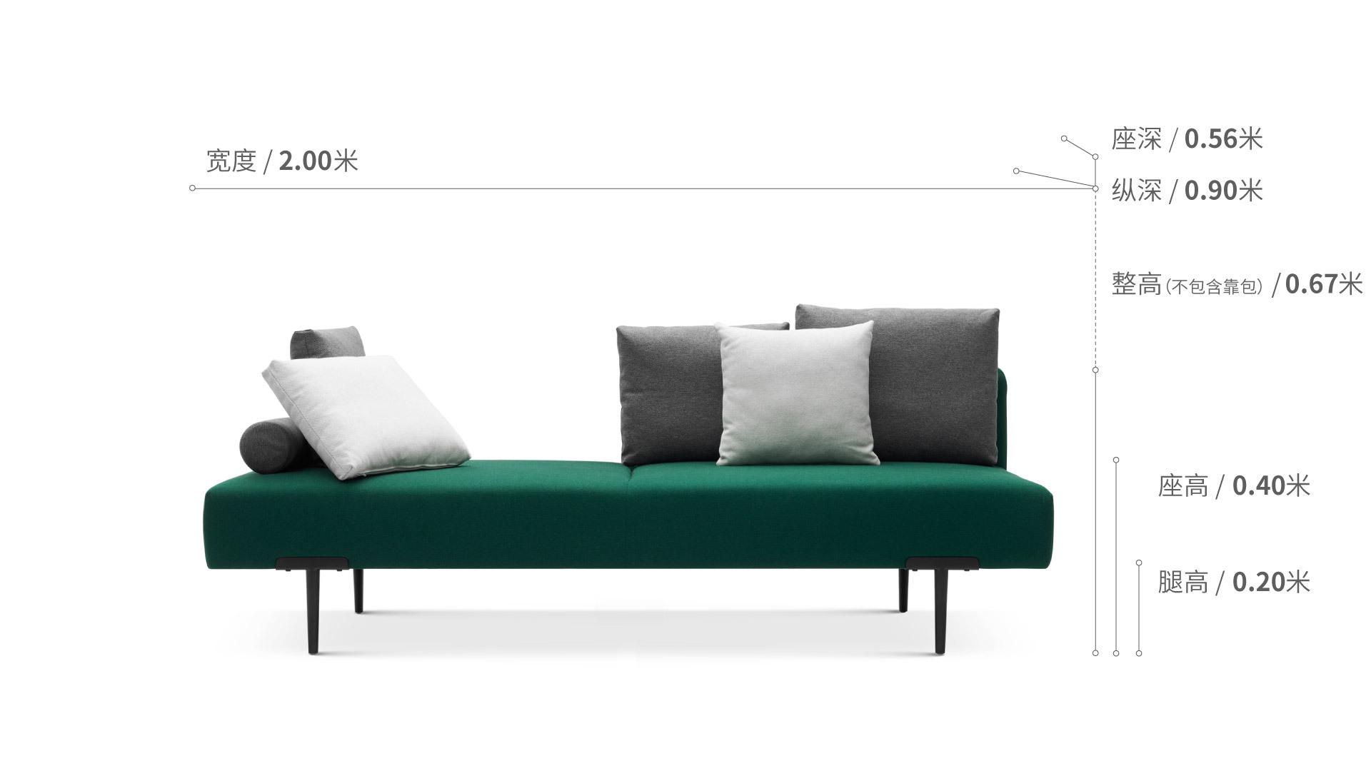 Sofa T三人座右靠背沙发效果图