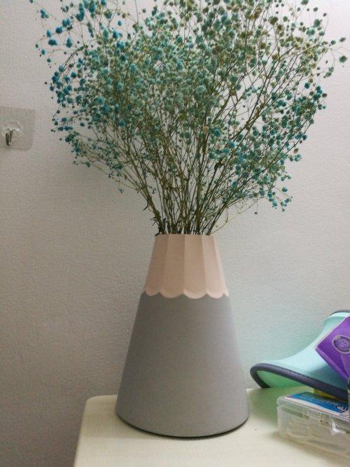雅雅对小礼裙水泥花器发布的晒单效果图及评价